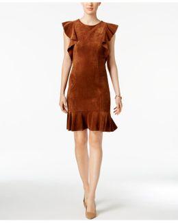 Faux-suede Ruffle Dress