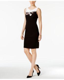 Embroidered Contrast Scuba Sheath Dress