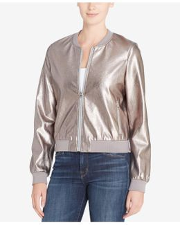 Jimmie Metallic Faux-leather Bomber Jacket