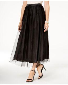 Mesh-overlay Midi Skirt