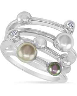 Endless Pearl Ring, Sterling Silver Multicolor Organic Man Made Pearl Ring
