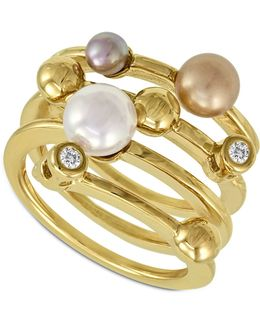 Endless Pearl Ring, 18k Gold Over Sterling Silver Multicolor Organic Man Made Pearl Ring