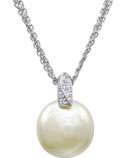 Pearl Necklace, Sterling Silver And Organic Man Made Pearl Pendant With Cubic Zirconia Accents
