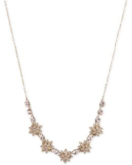Gold-tone Crystal & Imitation Pearl Flower Collar Necklace