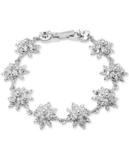 3mm Man-made Pearl & Crystal Floral Bracelet