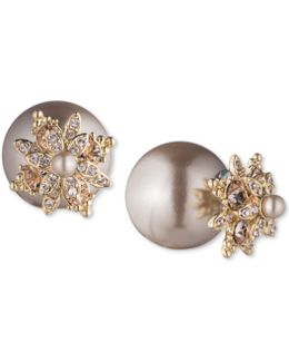 Crystal & Imitation Pearl Front-back Earrings