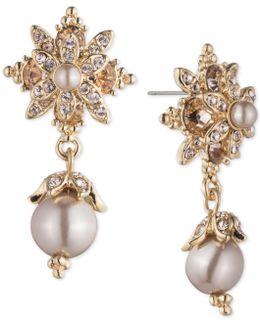Crystal & Imitation Pearl Drop Earrings