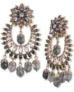 Gold-tone Multi-stone Chandelier Earrings