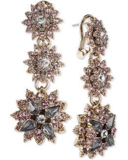 Gold-tone Crystal Cluster Triple Drop Earrings