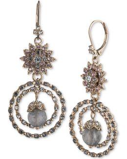 Gold-tone Crystal Cluster & Stone Orbital Drop Earrings