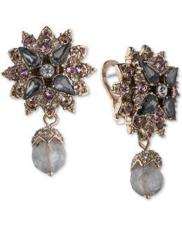 Gold-tone Cluster & Stone Drop Earrings