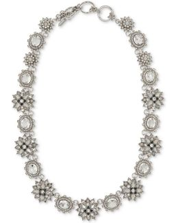 Silver-tone Crystal Cluster & Stone All-around Collar Necklace