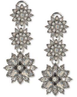 Silver-tone Crystal Flower Triple-drop Earrings
