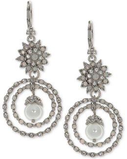 Silver-tone Crystal & Imitation Pearl Orbital Drop Earrings