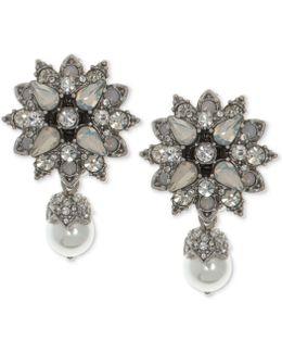 Silver-tone Crystal & Imitation Pearl Drop Earrings