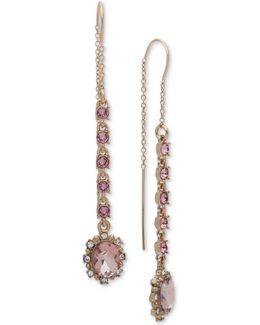 Gold-tone Stone & Crystal Threader Earrings