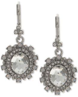 Stone & Crystal Oval Drop Earrings