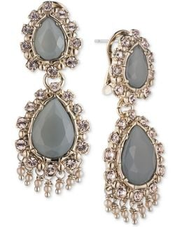 Gold-tone Stone & Crystal Double Drop Earrings