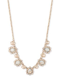 Gold-tone Stone & Crystal Collar Necklace