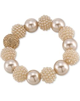 Gold-tone Brown Imitation Pearl Large Bead Bangle Bracelet