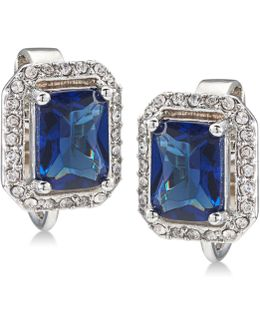 Silver-tone Pavé & Blue Stone Clip-on Stud Earrings