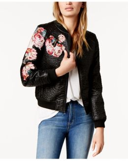 Embroidered Faux-leather Bomber Jacket
