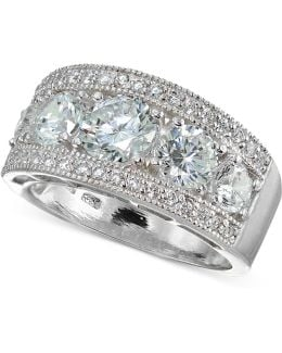 Cubic Zirconia Cluster Statement Ring In Sterling Silver