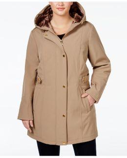 Plus Size Printed-trim Hooded Coat