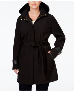 Plus Size Faux-leather-trim Hooded Water-repellent Raincoat