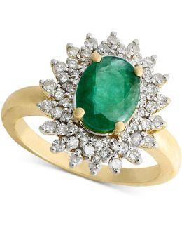 14k Gold Ring, Emerald (1-9/10 Ct. T.w.) And Diamond (1/2 Ct. T.w.) Three Row