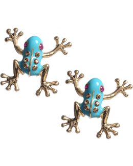 Blue Frog Stud Earrings