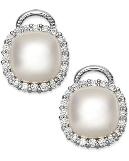 Sterling Silver Organic Man-made Pearl And Cubic Zirconia Stud Earrings