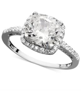 Sterling Silver Ring, Cubic Zirconia Cushion Cut Pave Ring (3-3/4 Ct. T.w.)