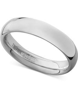 Men's White Tungsten Carbide Ring, Dome Wedding Band (5mm)