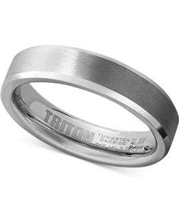 Men's White Tungsten Carbide Ring, Wedding Band (5mm)