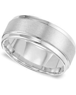 Men's White Tungsten Carbide Ring, Comfort Fit Wedding Band (9mm)