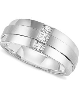 Men's Three-stone Diamond Wedding Band Ring In Stainless Steel (1/6 Ct. T.w.)