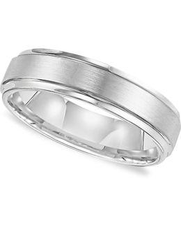 Men's White Tungsten Carbide Ring, Comfort Fit Wedding Band (6mm)