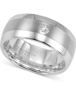 Men's Diamond Wedding Band In White Tungsten Carbide (1/10 Ct. T.w.)