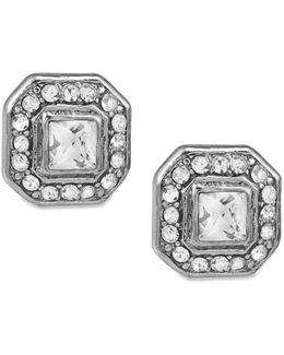 Earrings, Silver-tone Square Button Stud Earrings