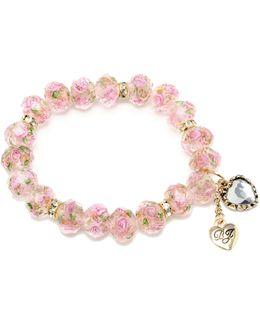 Pink Flower Beaded Stretch Bracelet
