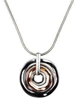 Necklace, Tri Tone Orbital Pendant