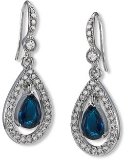 Earrings, Silver-tone Pave Stone Drop Earrings