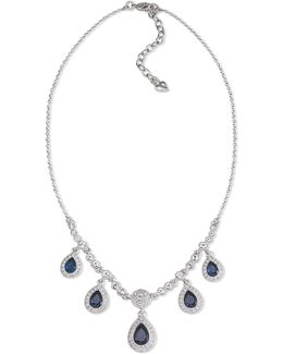 Necklace, Silver-tone Blue Stone Pear Drop Frontal Necklace