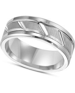 Men's White Tungsten Carbide Ring, 8mm Diamond-cut Wedding Band