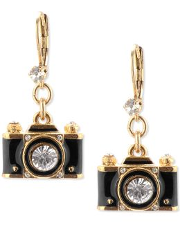 Gold-tone Black Camera Crystal Drop Earrings