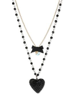 Gold-tone Black Glitter Heart Two-row Necklace