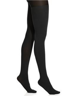 Ribbed Opaque Tights With Control Top Tights