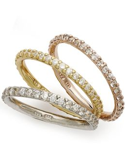 Tri-tone Rings Set, Set Of 3 Cubic Zirconia Stackable Rings (2-1/5 Ct. T.w.)