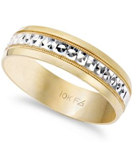 Men's 10k Gold And 10k White Gold Ring, Two-tone Wedding Band (6mm)